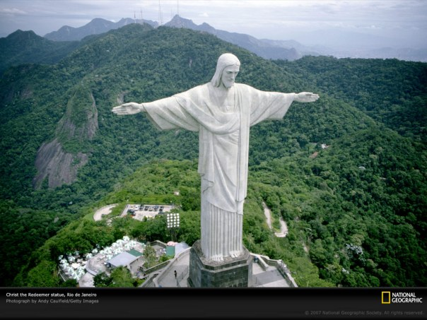 green background brazil christ redeemer